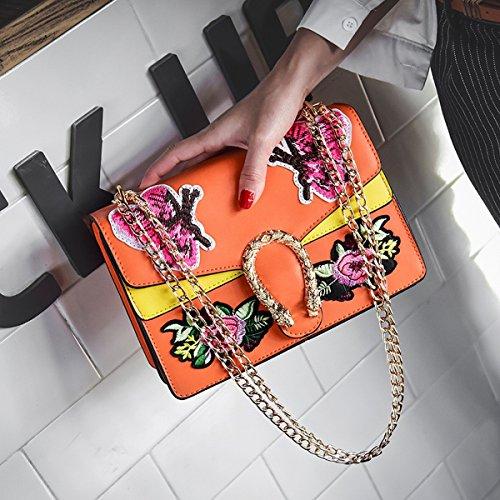 frauen-art und weisehandtaschen-schulter-diagonalpaket Gestickter Schmetterling kleiner quadratischer Beutel Orange
