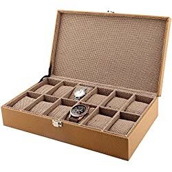 12-Slot PU Leather Designer Watch Case Decorative Organizer Box-Choose Colour