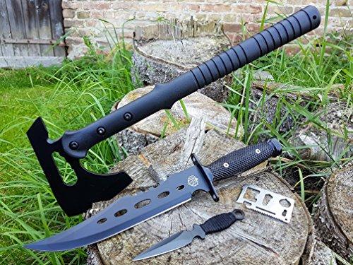 "*4er SWAT-Set* tactical Kommando Multifunktions Downrange Tomahawk M-48 Axt / Beil / Wurfaxt + CANADA ""Forrest Ranger 3th."" Bowie- Jagd- Outdoor- Survival- Messer + Dolch Beimesser + 12in1 Survival-Card"