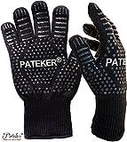 Pateker® Premium Qualität Hitzebeständig EN407 Beglaubigte - 2 Professionelle grillhandschuhe ofenhandschuhe Kochhandschuh Topfhandschuhe Backhandschuh -Men Size