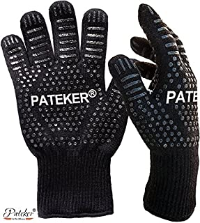 Pateker® Premium Qualität Hitzebeständig EN407 Beglaubigte - 2 Professionelle grillhandschuhe ofenhandschuhe Kochhandschuh Topfhandschuhe Backhandschuh -Men Size (B00ZPQWLP6) | Amazon price tracker / tracking, Amazon price history charts, Amazon price watches, Amazon price drop alerts