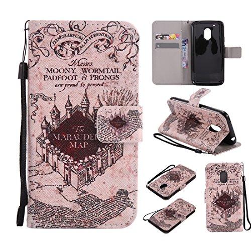 Nancen Compatible with Handyhülle Motorola Moto G4 Play (5 Zoll) Hülle/Handyhülle, Painted Retro PU Leder Tasche Schutzhülle Case [Alte Schloss]