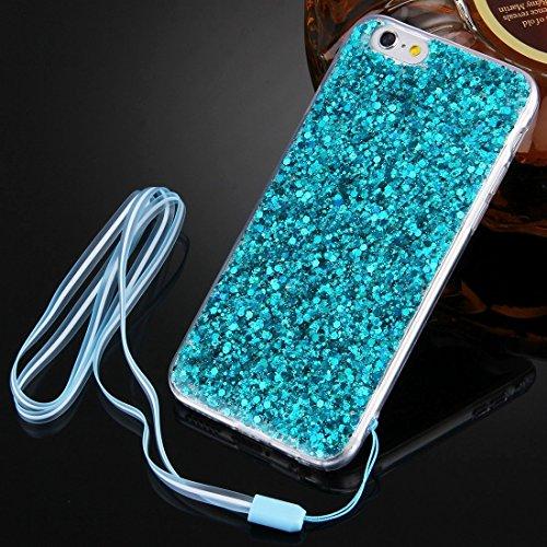 Wkae Case & Cover Pour le cas de protection iPhone 6 &6s flash poudre TPU avec cordon ( Color : Dark Blue ) Vert