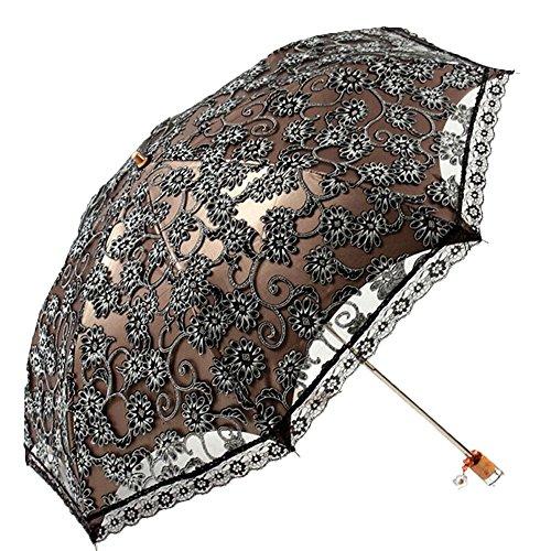MiiHome Damen Regenschirm Spitze Sonnenschirm Taschenschirm Sonnenschutz Anti-UV-(schwarz)