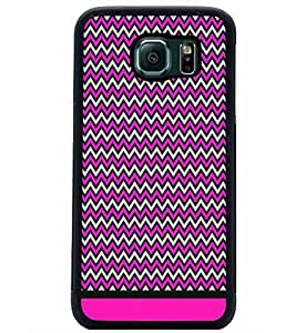 PrintDhaba Zig Zag Pattern D-1700 Back Case Cover for SAMSUNG GALAXY S6 EDGE (Multi-Coloured)
