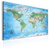decomonkey 90x60 cm Politische Weltkarte Deutsch Pinnwand Leinwand Bilder Wandbilder Landkarte Welt Kontinente Reise Geographie
