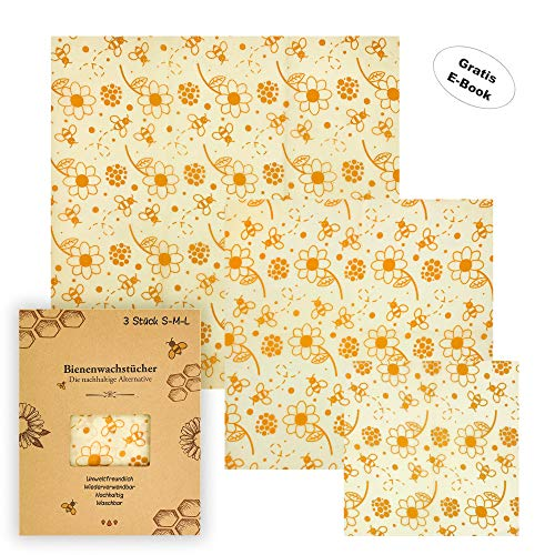 Julzin - Die nachhaltige Alternative: Bienenwachstücher mit gratis E-Book, 3 Stück im Set (S, M, L), Bienenwachstuch, Wachspapier -