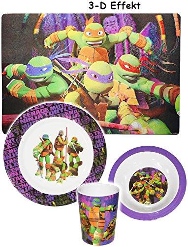 alles-meine.de GmbH 4 TLG. Geschirrset -  Teenage Mutant Ninja Turtles  - Melamin Geschirr - Trinkbecher + Teller + Müslischale / Suppenschale + Platzdeckchen - Kindergeschirr ()