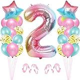 Bluelves Palloncini Compleanno 2, Rosa Palloncini 2, Palloncino Numero 2, Numero 2 Gonfiabile Compleanno, Compleanno Pallonci