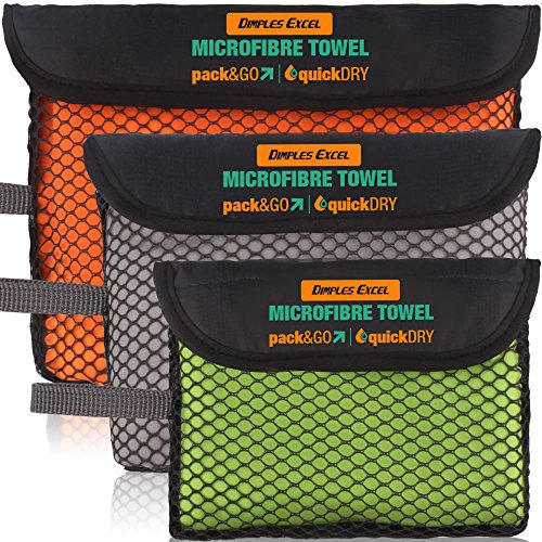 Dimples Excel Microfaser Handtuch für Bad, Bad, Strand - Kompakt, Extrem Leicht, Ultra-Saugfähig, Schnell Trocknend (3 Pack – 60x30