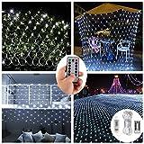 Batteriebetrieben Netzlichter,200er LED Lichterketten Netz für Außen Innenräume,3M x 2M,Deko Leuchte für Weihnachten Party Garten Terrasse...