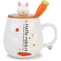 TopGearWorld 450 ML Tasses de Lapin en Céramique Mug avec Couvercle en Bois et Cuillère en Acier Inoxydable pour Lait…