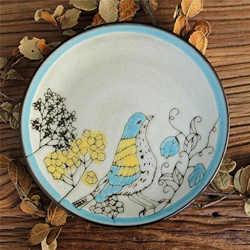 GYY Keramikschale Vogel Muster Snacks Dessert Gebäckschale Nudeln Geschirr Diät Geschirr 20x6 cm (Vogel Geschirr Muster,)