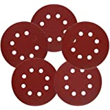 sarrah 20 Pieces 5 Inches Orbital High Grit Sanding Disc, 400, 600, 800, 1000, 2000 Grits 8 Hole Sandpaper with Loop for…