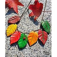 Collana Foglie d'autunno in Pasta Polimerica - Fimo