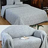 254 x 355 cm: Homescapes Grey Silver XL Extra Large Size Nirvana Pure Cotton Textured Bedspread Throw Blanket 250 x 350 cm Super King-Size Bed Throw or 3 to 4 Seater Sofa Throw