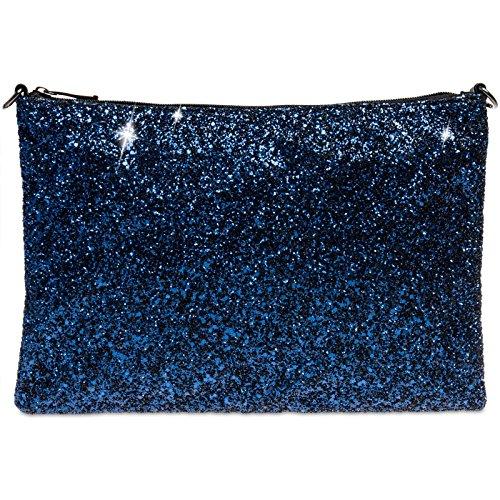 CASPAR TA341 Donna Pochette Grande con Paillettes Blu