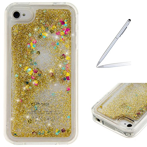 Trumpshop Smartphone Case Coque Housse Etui de Protection pour Apple iPhone 5/5s/SE/5C + Campanule + Flexible TPU 3D Liquide Paillettes Sables Mouvants avec Absorption de Choc Or