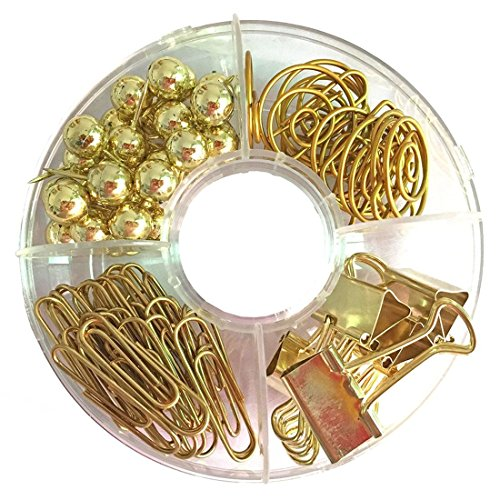 TOOGOO 65 PCS Conjunto de clip de papel decorativo, alfileres de alfileres multi-tema Alfileres de clip de alfileres largos Clips de alfileres para escuela, hogar y oficina (dorado)