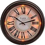 The Garden & Home Co. Horloge Murale LED Bank Station Marron Foncé 36 x 7 x 36 cm 17216