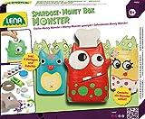 Lena 42554 - Bastelset Money Monster Spardose, Komplettset mit Monsterfigur Halbschalen aus Pappe, 6 Farben, Pinsel, Schwämme, Kleberolle, Klarlack und lustigen Accessoires, Set für Kinder ab 8 Jahre