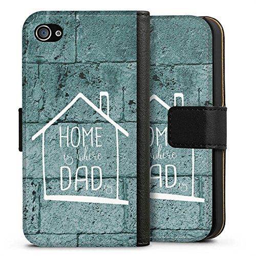 Apple iPhone X Silikon Hülle Case Schutzhülle Vatertag Dad Papa Sideflip Tasche schwarz