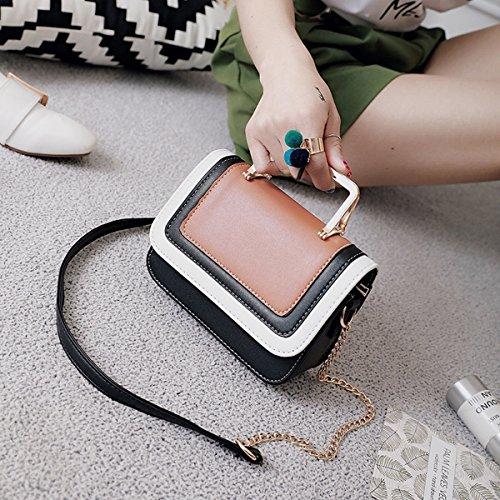 Weibliche Persönlichkeit Stitching Große kapazität tragbare Weibliche schultertasche Braun