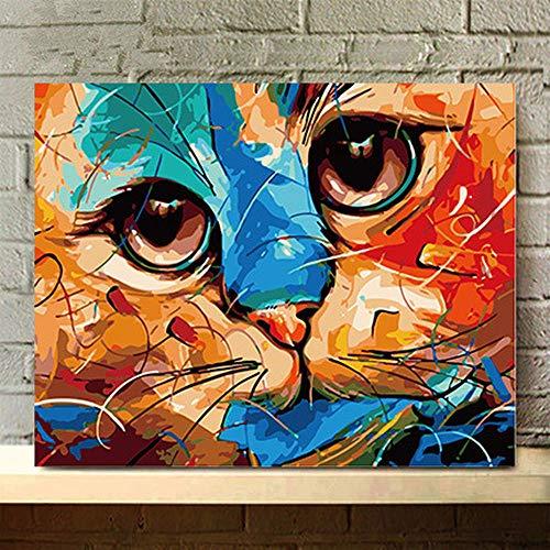 jaylook Dekoratives Malereikätzchen AI018 der DIY-digitalen Malereiwohnzimmer-Schlafzimmerstudie - Mit Uhr-kits Zahlen