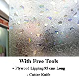 Lifestyle-You™ Static Decorative Frosted Window glass film (135cms X 90cms) (Non Adhesive) With Free Tools. Details Inside