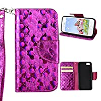iPhone 5S Wallet Case, iPhone 5 SE Cover Case, Rosa Schleife Sparkle Bling Glitter PU Leather Butterfly Painting Pattern Embossed Floral Flip Folio Magnetic Snap Leather Phone Case Protective Case Cover Shell Skin for iPhone 5/5S/SE (4.0