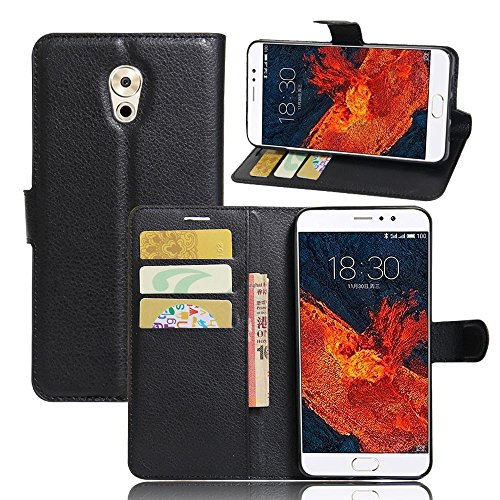 Tasche für Meizu Pro 6 Plus Hülle, Ycloud PU Ledertasche Flip Cover Wallet Case Handyhülle mit Stand Function Credit Card Slots Bookstyle Purse Design schwarz