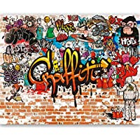 livingdecoration Papel Pintado Graffiti 366 x 254 cm Habitación de los niños Muro de Piedra Colorido Grafitti Fotomurales