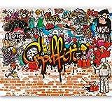livingdecoration Fototapete Graffiti 366 x 254 cm Kinderzimmer Steinwand bunt Jungen Grafitti Tapete inklusiv Kleister