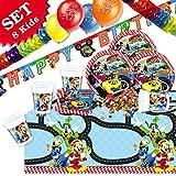 geburtstagsfee Mickey Roadster Kinderparty Deko Set mit Partytischdecke und Geschirr, 48-tlg.