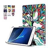 Hülle für Samsung Galaxy Tab A 7.0 ,PU Leder Case Hülle im Bookstyle Tasche für Samsung Galaxy Tab A (2016) 17,8 cm (7 Zoll) SM-T280 A Schutzhülle Flip Cover Leder Schale Skin (#2 Bunte Baum)