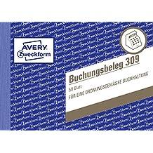 Avery Zweckform 309 Buchungsbeleg (A6 quer, mikroperforiert, 50 Blatt) weiß