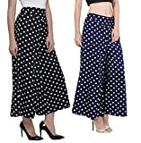 Rooliums Brand Factory Outlet Women's Trendy and Stylish (Black,Blue) Polka Dot Printed Palazzo Pack of -2 Free Size