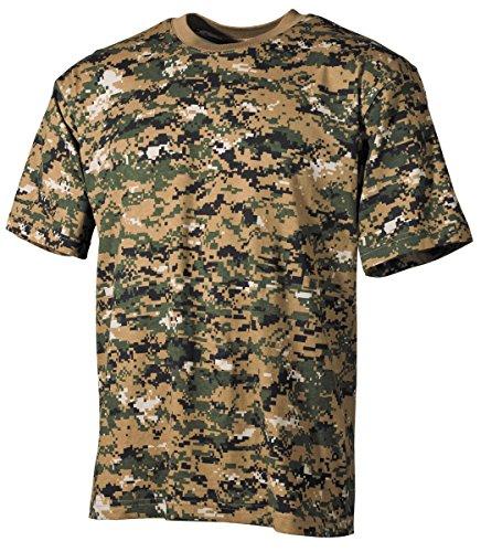 Commando US Army T-Shirt mit Tarnmuster Tarnshirt Kurzarm Rundhals Herrenshirt (Digital Woodland/M) (Woodland T-shirt Baumwolle Tarn Army)