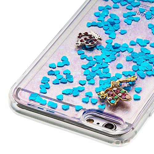 Für iphone 7 Plus Hülle,SKYXD Glitzer Flüssig Wasser Kreativ Design Weiche Silikon Gel Gummi [Nicht Hard Case] Brillianter Leichtes Glatt Schutzhülle mit [Handyanhänger + Eingabestifte] Handy Tasche H Design #06