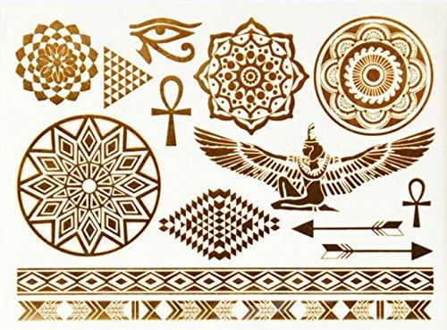 ღ YS-48 Flash-Tattoo temporärer Körper Aufkleber Decals Goldarmbänder Goldschmuck Metall-Blech Tattoo (Flash-tattoo-maker)