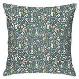 Cute Rabbits Blue Pattern Flannel Decorative Square Pillow Cushion Cover Sofa Home Decor Modern 18 X 18 inch(45 X 45 cm