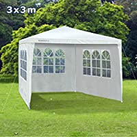 Slimbridge Saltney 3 x 3 Metres Fully Waterproof Gazebo Tent Marquee Awning Canopy with 3 Zip Up Side Panels and Powder Coated Steel Frame for Outdoor Wedding Garden Party, White