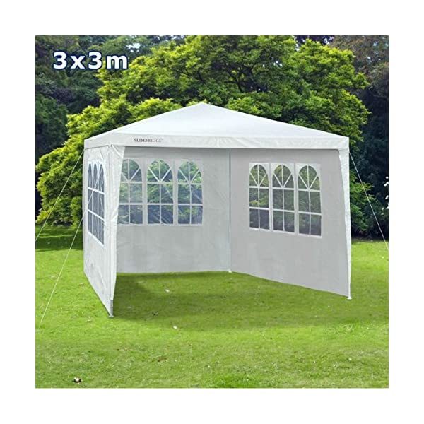 Slimbridge Wakehurst 3 x 3 Metres Fully Waterproof Gazebo Tent Marquee Awning Canopy without Side Panels with Powder Coated Steel Frame for Outdoor Wedding Garden Party, White 1