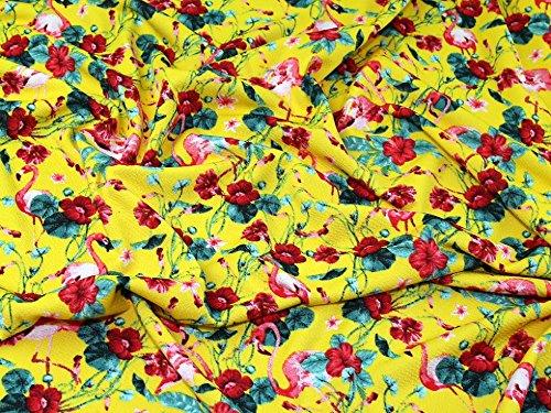 Minerva Crafts Flamingo Flower Print Strukturierte Jersey Kleid Stoff gelb-Meterware Flower Jersey Kleid