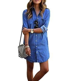977aa7917a32b Denim kleid damen, Sondereu Minikleid jeans Jeanskleid damen Lässig Lose  Kurz Hemdblusenkleid Tunika Jeansbluse