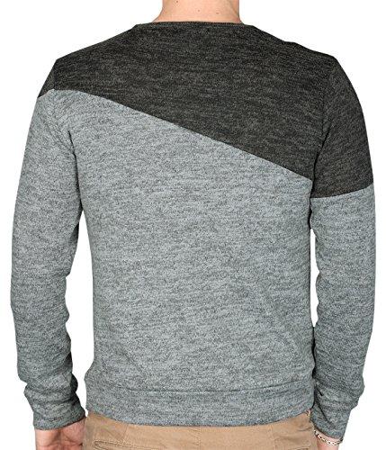 BetterStylz PullZip Longsleeve Reißverschluß Langarm Shirt Sweatshirt Pullover Pulli Slim Fit div. Farben (S-XL) Grau/Schwarz