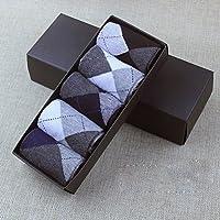 OULII Calcetines para Hombre Calcetines Algodón Antideslizante para Otoño Invierno 5 Pares (Rombo)