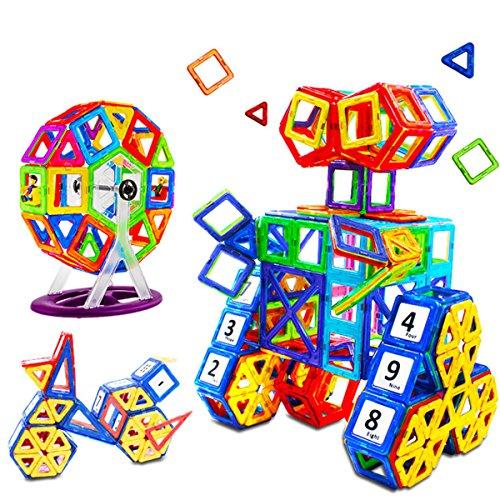 Genießen Mini Magnetische Bausteine Konstruktionsbausteine Bauklötze Baukasten Konstruktion Blöcke Magnetspielzeug Lernspielzeug für Baby Kleinkind (145 tlg)