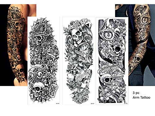 3 Sheets temporäre Tattoos - Totenkopf & Rosen