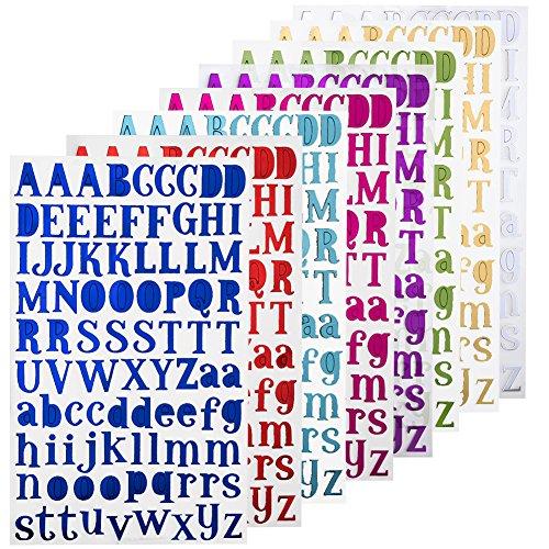 NouveLife Lettres Adhésives Alphabet Lettres Autocollantes Stickers Alphabet Scrapbooking Majuscule Minuscule Caractère de Hauteur 1,5-2,5cm 8 Feuilles de 88 Autocollants pour Scrapbooking Cadeau Bricolage Décoration de Mariage
